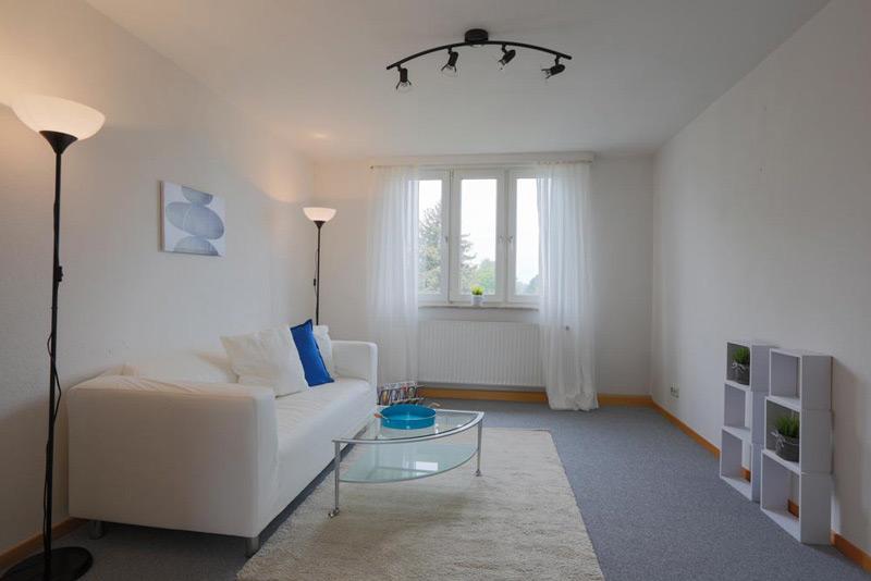 Weißes Wohnzimmer mit grauem Boden und einem Teppich für Couch und Couchtisch